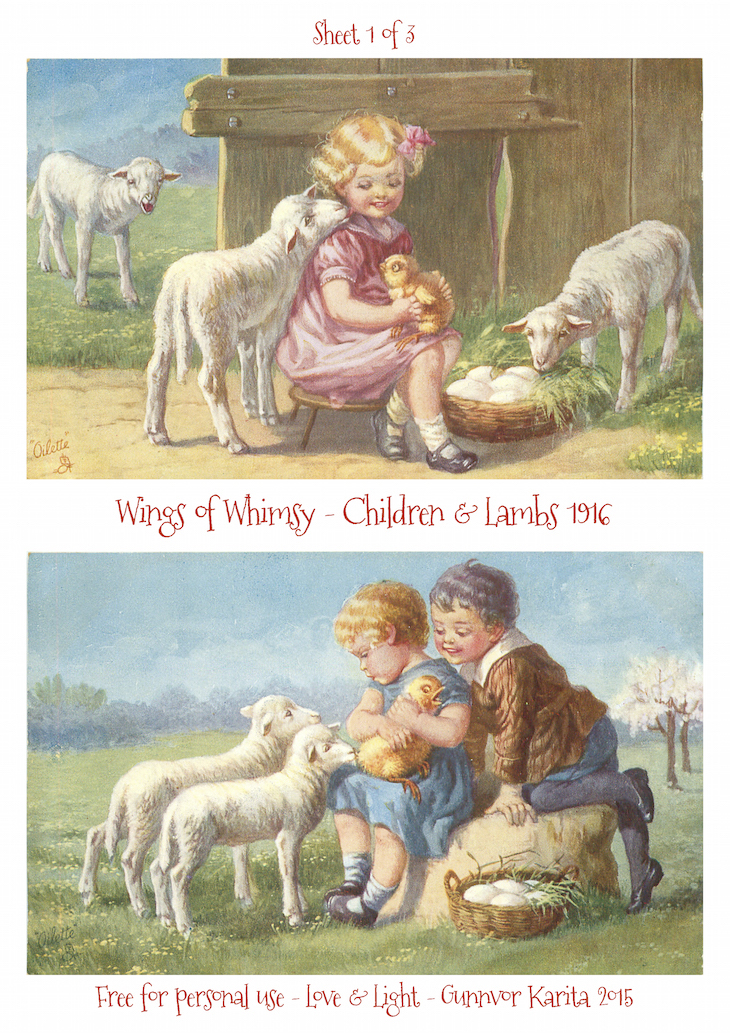 Wings of Whimsy: Children & Lambs 1916 No1 #vintage #ephemera #freebie #printable #postcard #easter #children #lambs