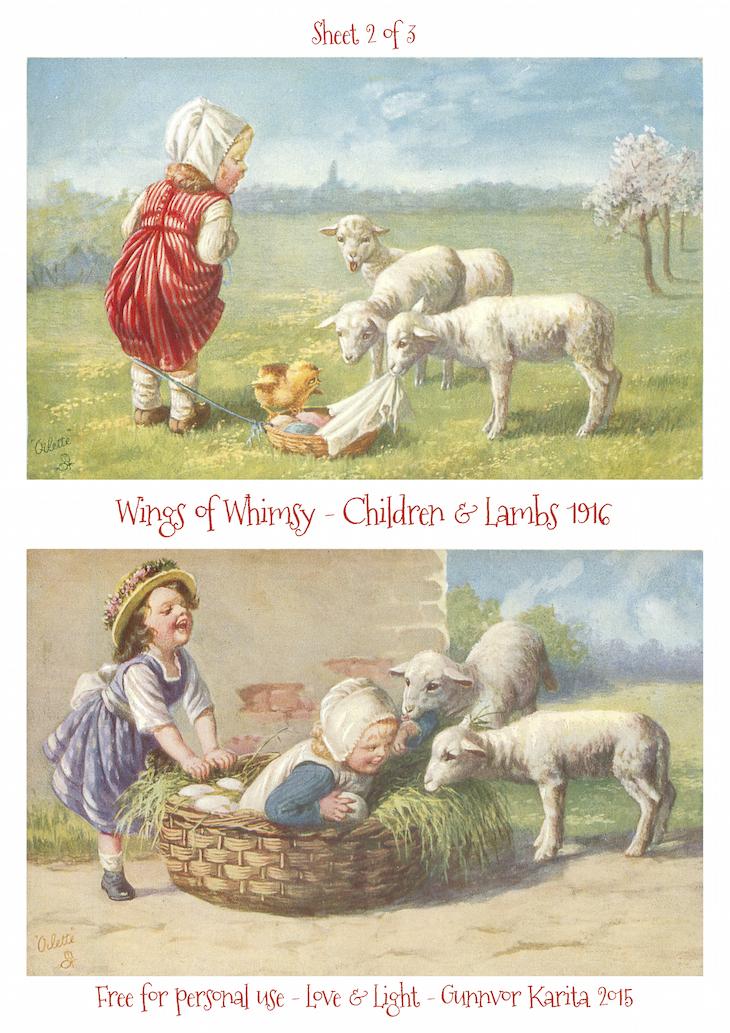 Wings of Whimsy: Children & Lambs 1916 No2 #vintage #ephemera #freebie #printable #postcard #easter #children #lambs