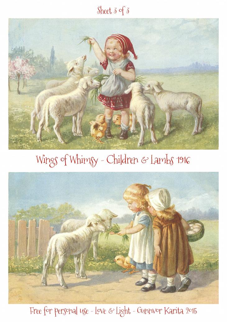 Wings of Whimsy: Children & Lambs 1916 No3 #vintage #ephemera #freebie #printable #postcard #easter #children #lambs