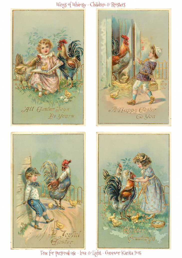 Wings of Whimsy: 1912 Easter Children & Roosters #vintage #ephemera #freebie #printable #easter #children #roosters