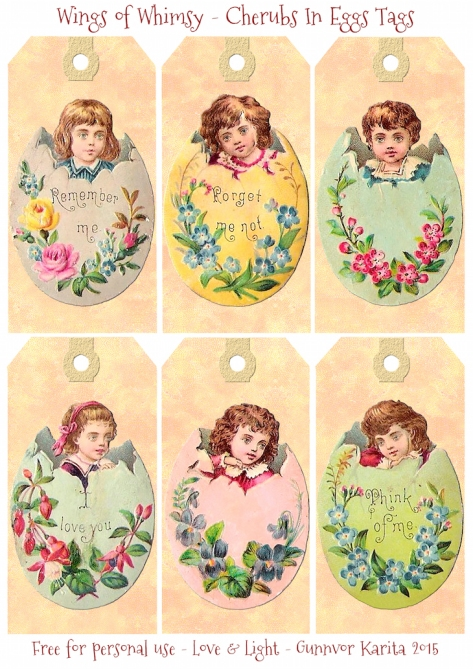Wings of Whimsy: Victorian Easter Babies In Eggs Tags #vintage #ephemera #freebie #printable #easter #tags