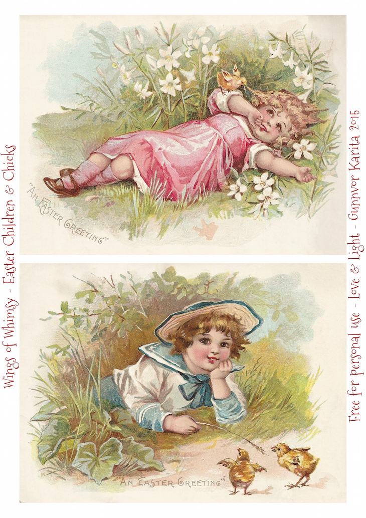 Wings of Whimsy: Victorian Easter Children #vintage #ephemera #freebie #printable #easter #children