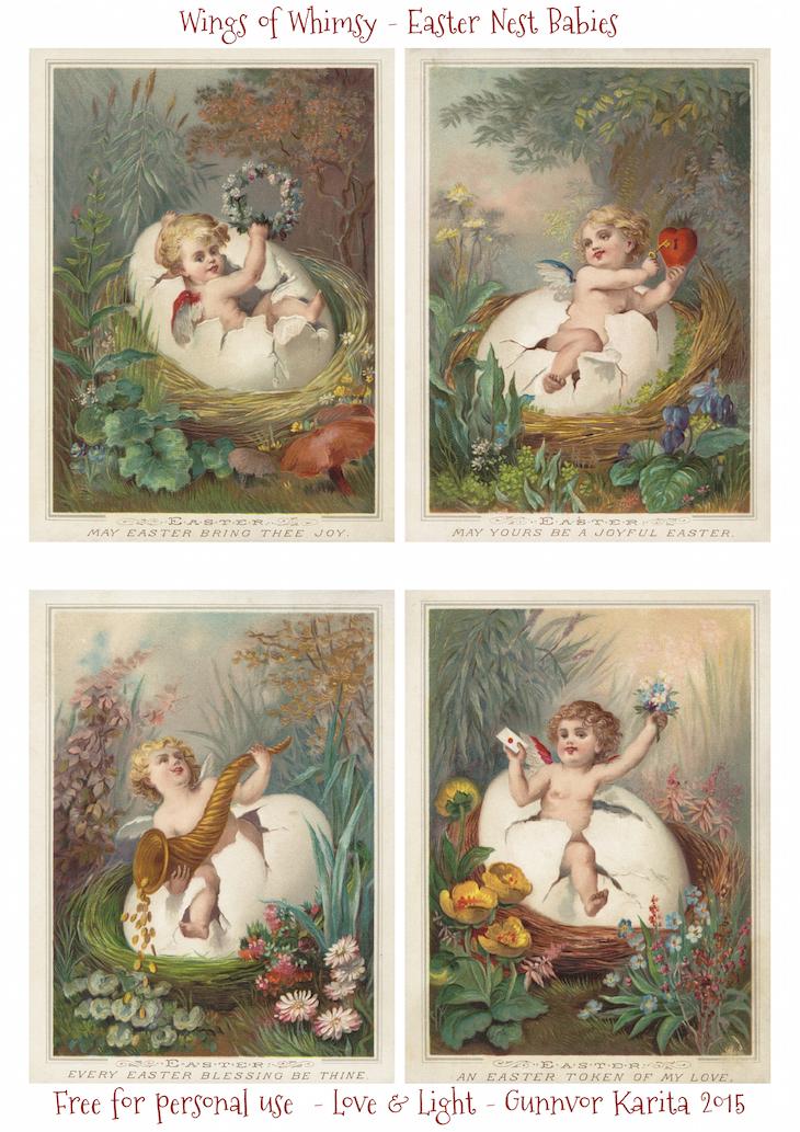 Wings of Whimsy: Nested Easter Cherubs #vintage #ephemere #freebie #printable #easter #nest #baby #cherub