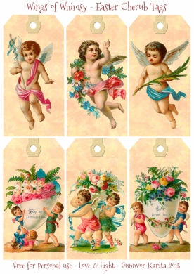 Wings of Whimsy: Victorian Easter Cherub Tags #vintage #ephemera #freebie #printable #easter #tags