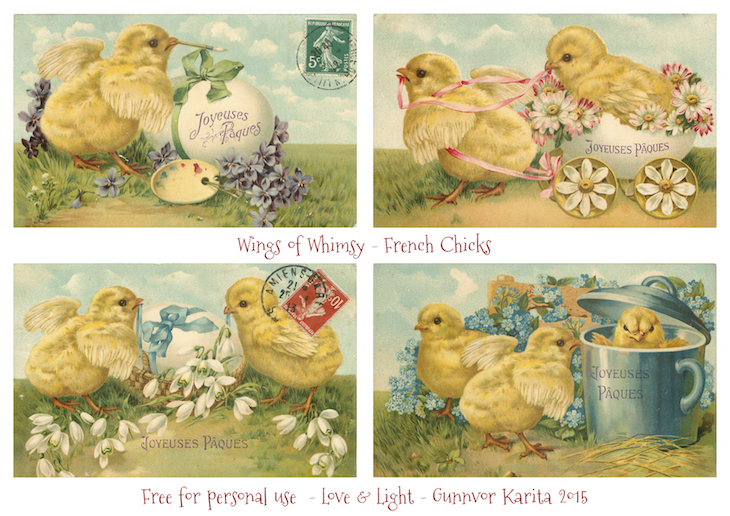 Wings of Whimsy: 1912 French Chicks  #vintage #ephemera #freebie #printable #french #chicks