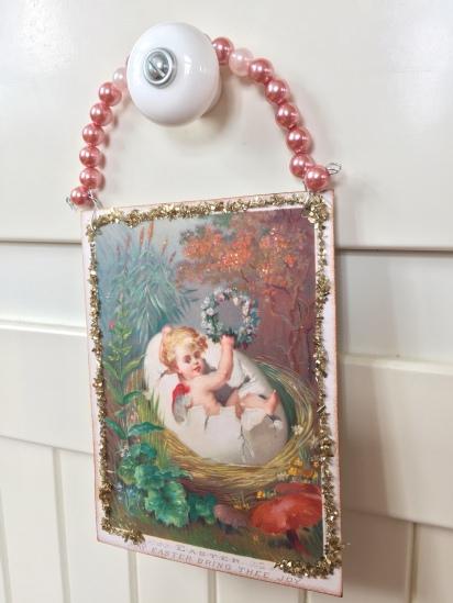 Wings of Whimsy: Nested Easter Cherubs - DIY Easter Hangers #vintage #ephemere #freebie #printable #easter #nest #baby #cherub