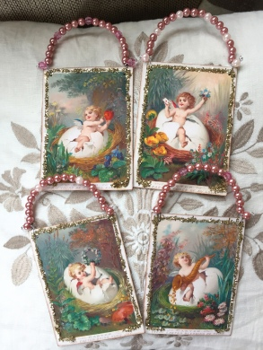 Wings of Whimsy: Nested Easter Cherubs - DIY Easter Hangers #vintage #ephemere #freebie #printable #easter #nest #baby #cherub