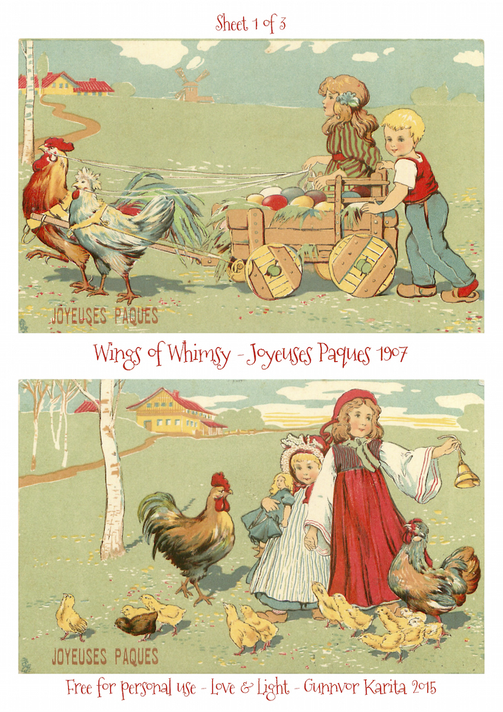 Wings of Whimsy: Joyeuses Paques 1907 No1 #vintage #ephemera #freebie #printable #postcard #easter #french #children
