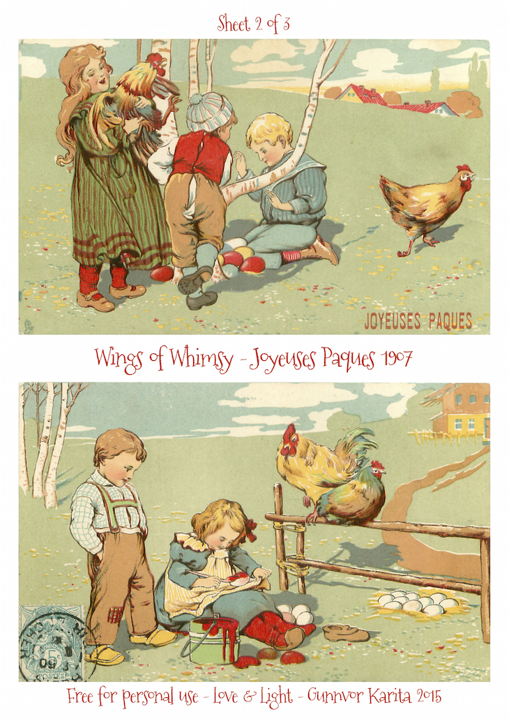 Wings of Whimsy: Joyeuses Paques 1907 No2 #vintage #ephemera #freebie #printable #postcard #easter #french #children