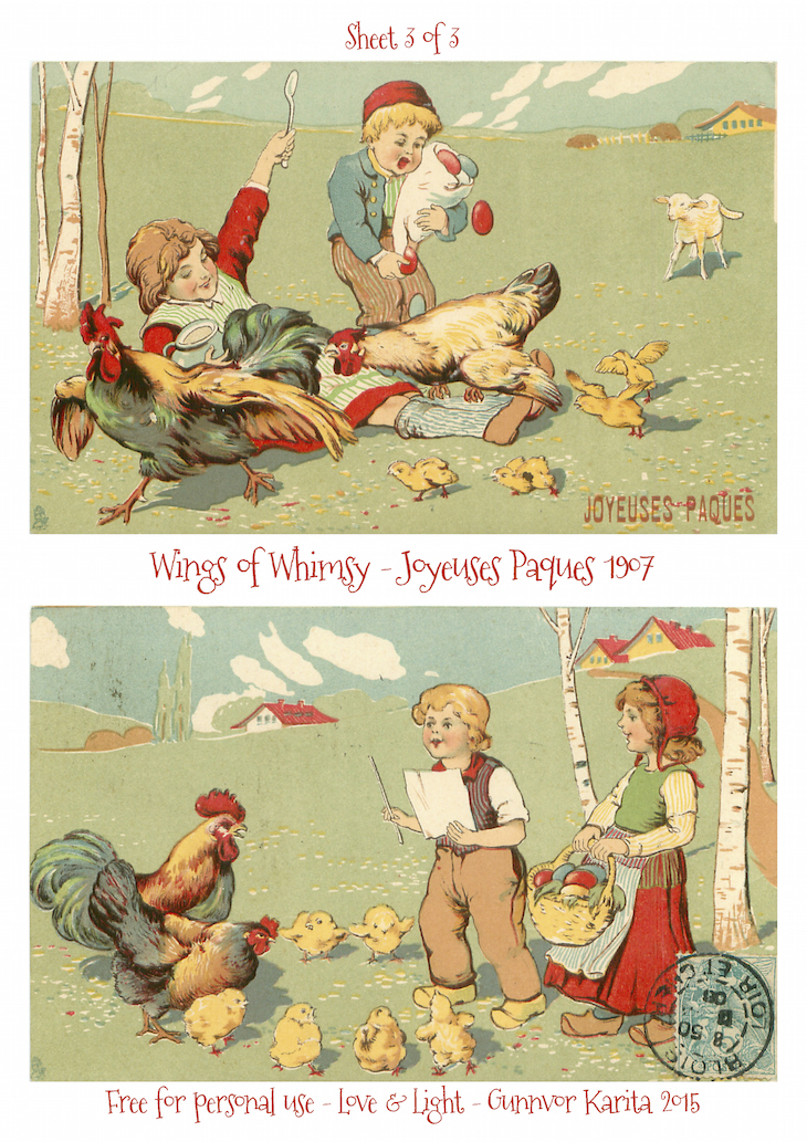 Wings of Whimsy: Joyeuses Paques 1907 No3 #vintage #ephemera #freebie #printable #postcard #easter #french #children