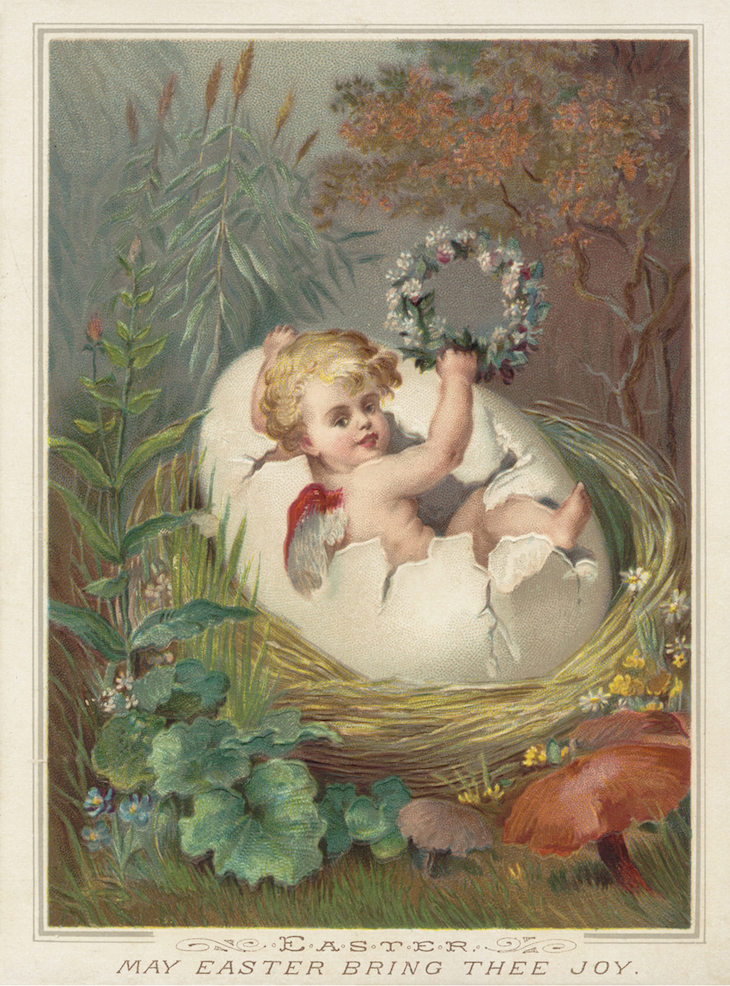 Wings of Whimsy: Nested Easter Baby 1 #vintage #ephemere #freebie #printable #easter #nest #baby #cherub