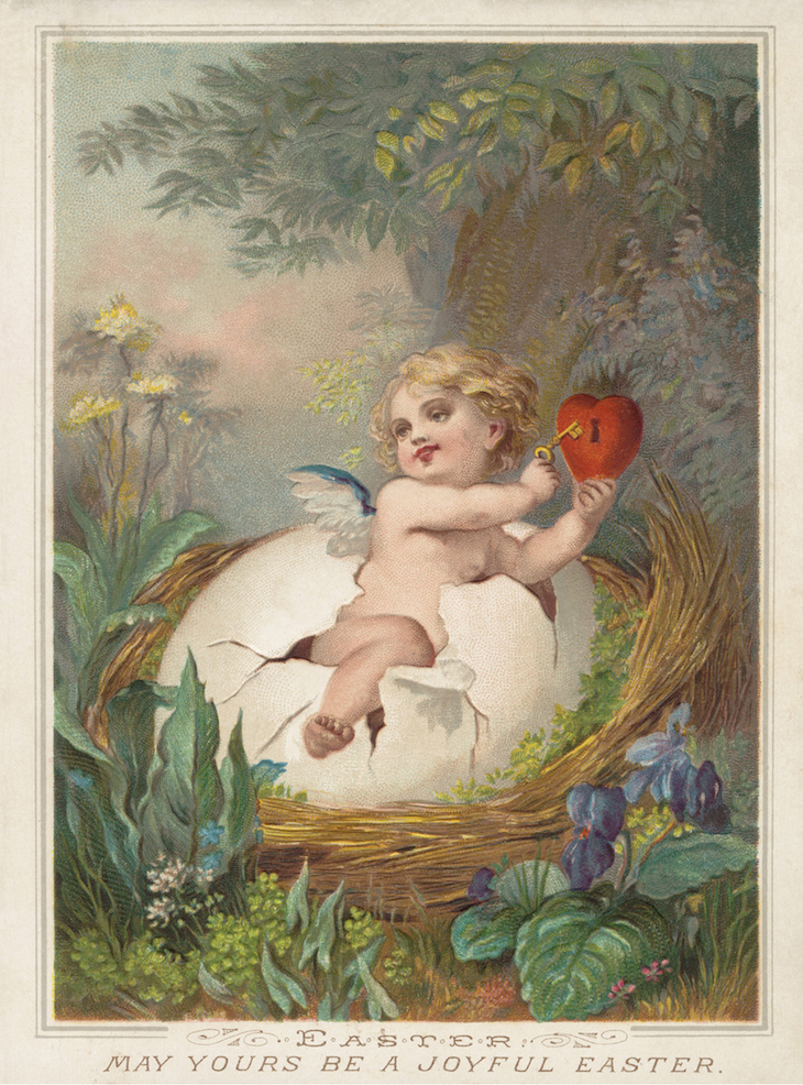 Wings of Whimsy: Nested Easter Baby 2 #vintage #ephemere #freebie #printable #easter #nest #baby #cherub