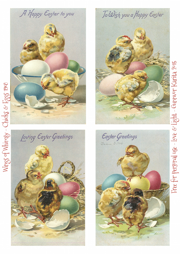 Wings of Whimsy: Easter Chicks & Colorful Eggs #vintage #ephemera #freebie #printable #easter #chicks #eggs