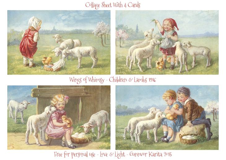 Wings of Whimsy: Children & Lambs 1916 #vintage #ephemera #freebie #printable #postcard #easter #children #lambs