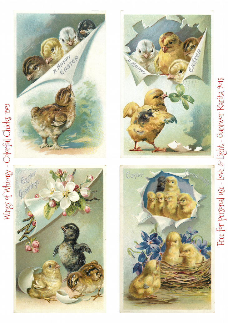 Wings of Whimsy: Easter Chicks #vintage #ephemera #freebie #printable #easter #chicks #eggs