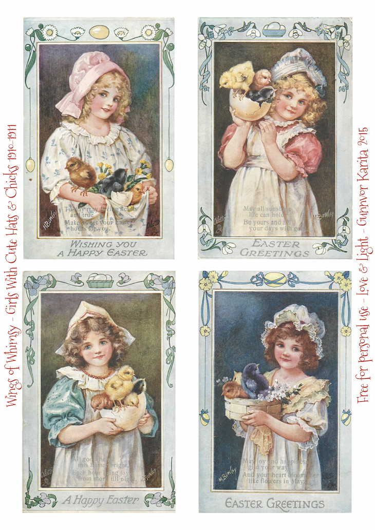 Wings of Whimsy: Girls WIth Cute Hats & Chicks #vintage #ephemera #freebie #printable #easter #chicks #eggs