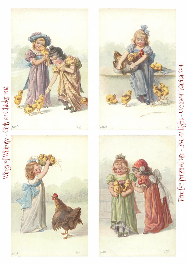 Wings of Whimsy: Easter Girls & Chicks #vintage #ephemera #freebie #printable #easter #chicks #eggs