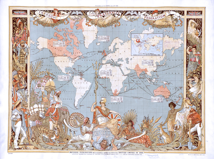 Wings of Whimsy: Imperial Federation, Map of the World Showing the Extent of the British Empire in 1886  #freebie #vintage #ephemera #printable #royal #queen