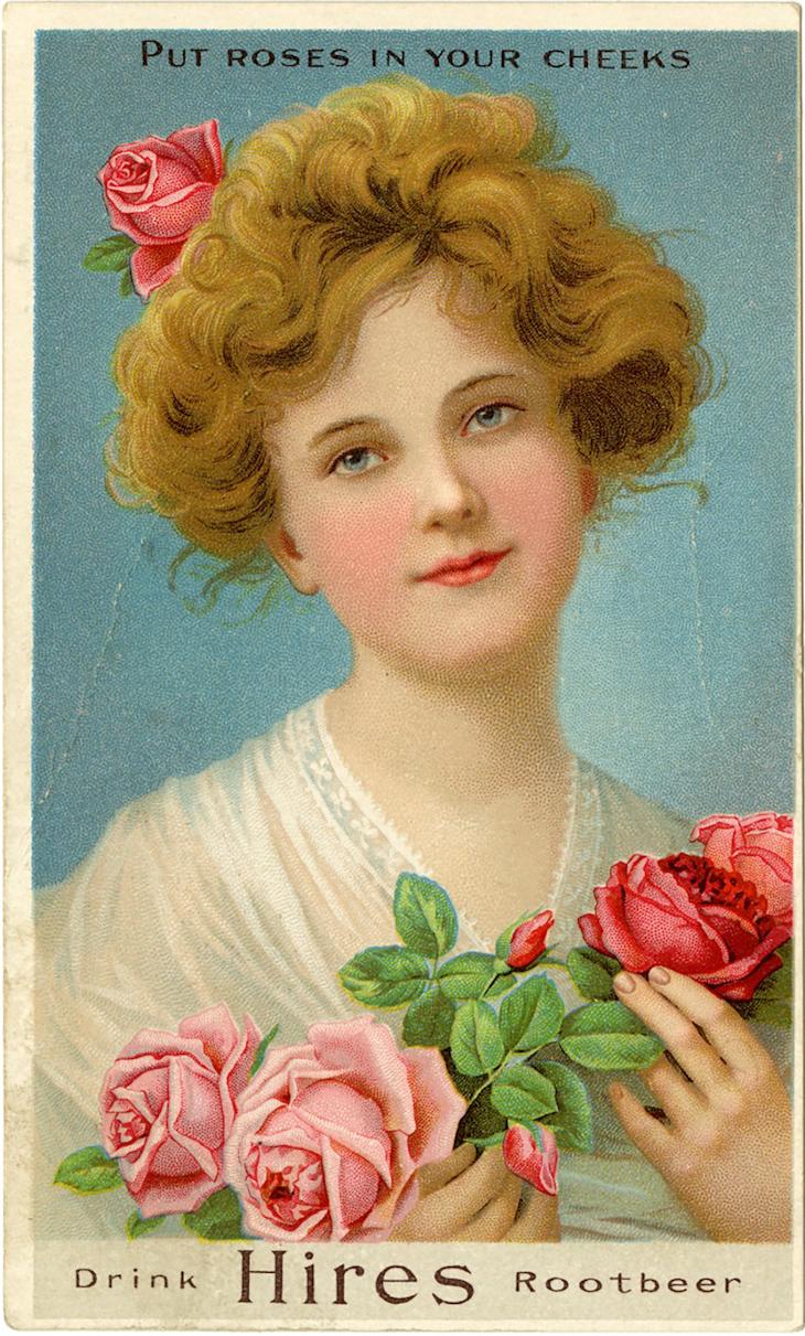 Wings of Whimsy: Hires RootBeer Lady #vintage #ephemera #freebie #printable #lady #rose #tradecard