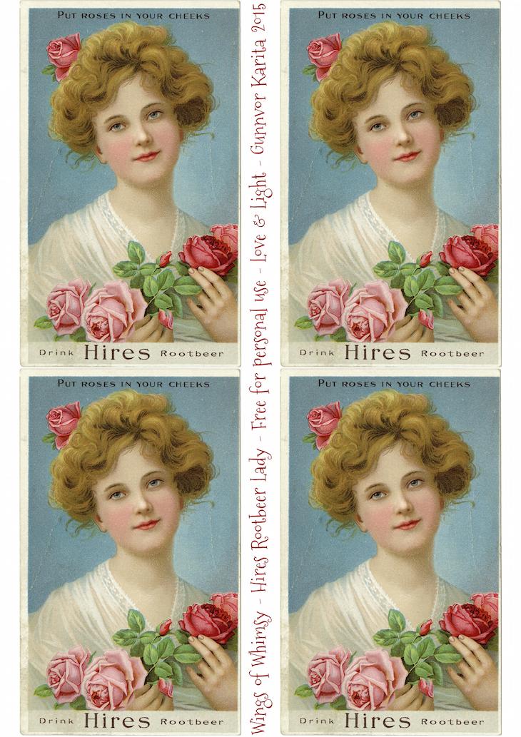 Wings of Whimsy: Hires RootBeer Lady Sheet #vintage #ephemera #freebie #printable #lady #rose #tradecard