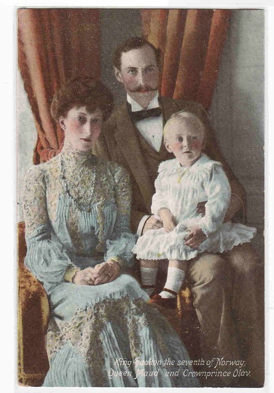 Wings of Whimsy: King Haakon VII, Queen Maud, Crown Prince Olav, Norway 1907 postcard