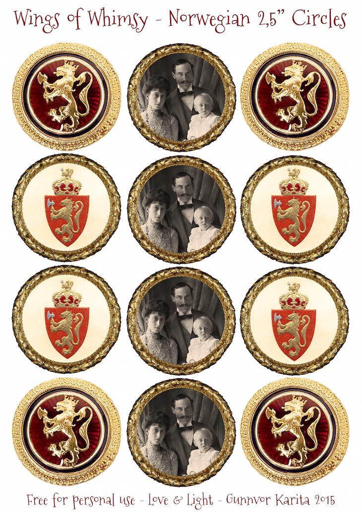 "Wings of Whimsy: Norwegian Circle 2,5"" #vintage #printable #ephemera #norwegian #national #day #may #17th #royal #king #queen"