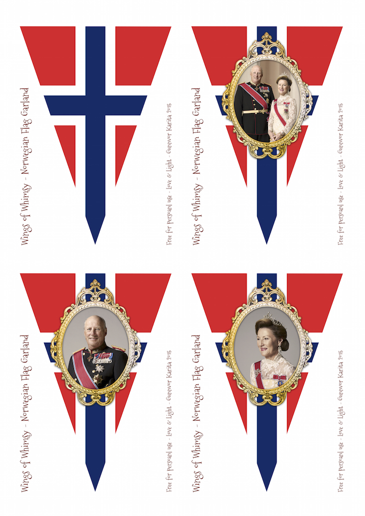 Wings of Whimsy: Norwegian National Day Flag Bunting No 1 #freebie #printable