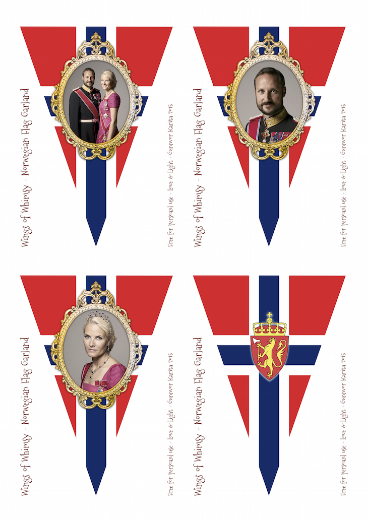 Wings of Whimsy: Norwegian National Day Flag Bunting No 2 #freebie #printable