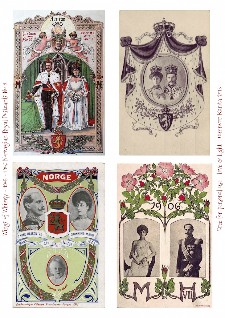 Wings of Whimsy: 1905-1906 Norwegian Royal Postcards No 2 #vintage #printable #freebie #royal #king #queen #norway