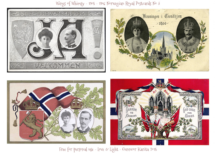 Wings of Whimsy: 1905-1906 Norwegian Royal Postcards No 3 #vintage #printable #freebie #royal #king #queen #norway