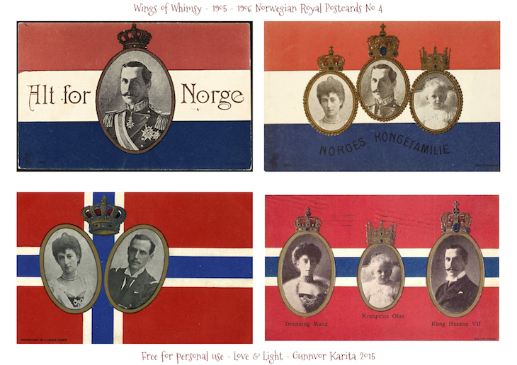 Wings of Whimsy: 1905-1906 Norwegian Royal Postcards No4 #vintage #printable #freebie #royal #king #queen #norway