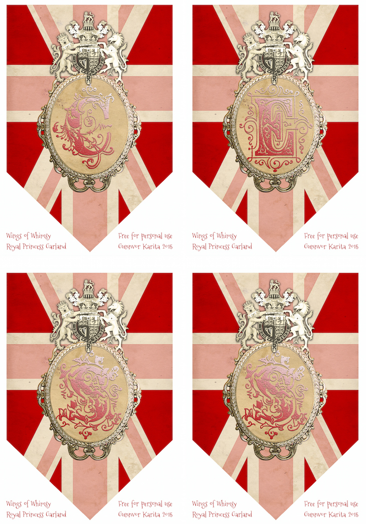 Wings of Whimsy: Princess Bunting CESS #vintage #ephemera #freebie #printable #princess #royal