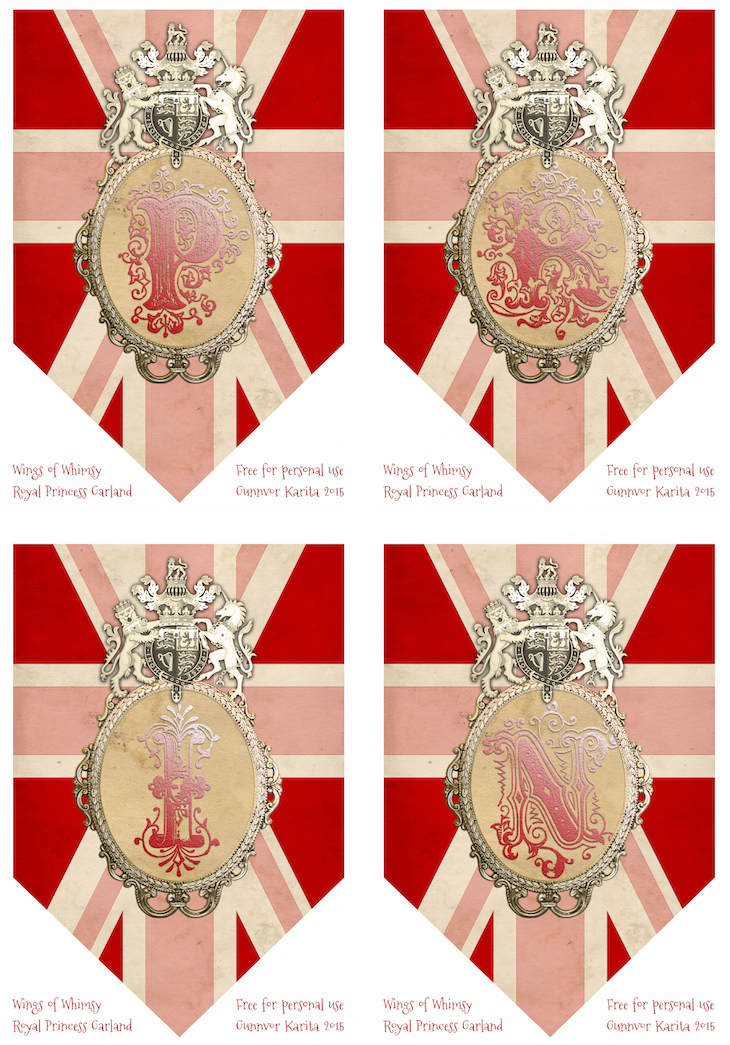 Wings of Whimsy: Princess Bunting PRIN #vintage #ephemera #freebie #printable #princess #royal