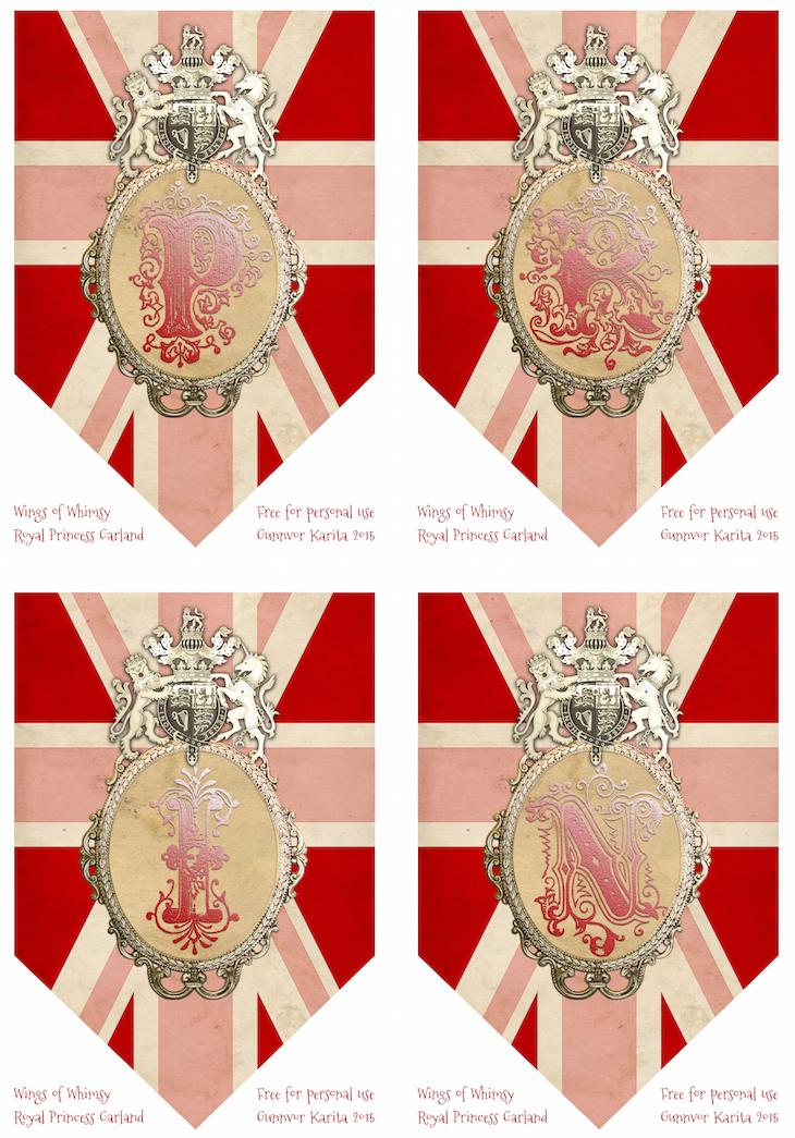 Wings of Whimsy: Princess Bunting PRIN #vintage #ephemera #freebie #printable #princess #royal