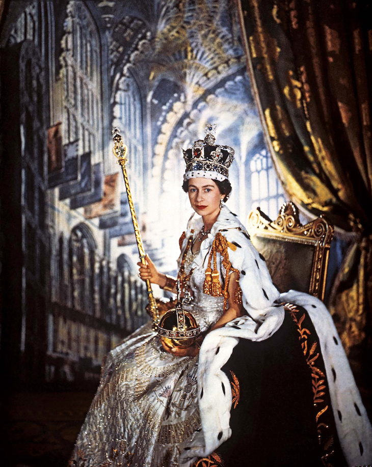Wings of Whimsy: 1953 Queen Elizabeth II in her coronation robes by Sir Cecil Beaton #vintage #ephemera #pretty #data #freebie #printable #queen #royal