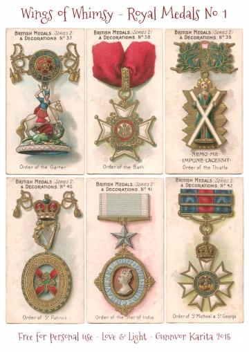 Wings of Whimsy: Royal Medals & Decorations No 1 #vintage #ephemera #printable #freebie #royal #medal #decoration #tradecard