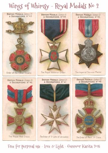 Wings of Whimsy: Royal Medals & Decorations No 2 #vintage #ephemera #printable #freebie #royal #medal #decoration #tradecard