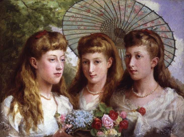 The_three_daughters_of_King_Edward_VII_and_Queen_Alexandra_by_Sydney_Prior_Hall_1883