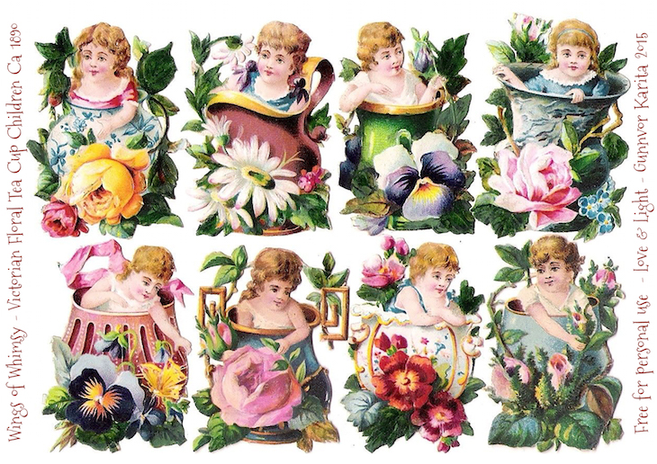 Wings of Whimsy: Victorian Tea Cup Children #vintage #ephemera #freebie #printable #scraps