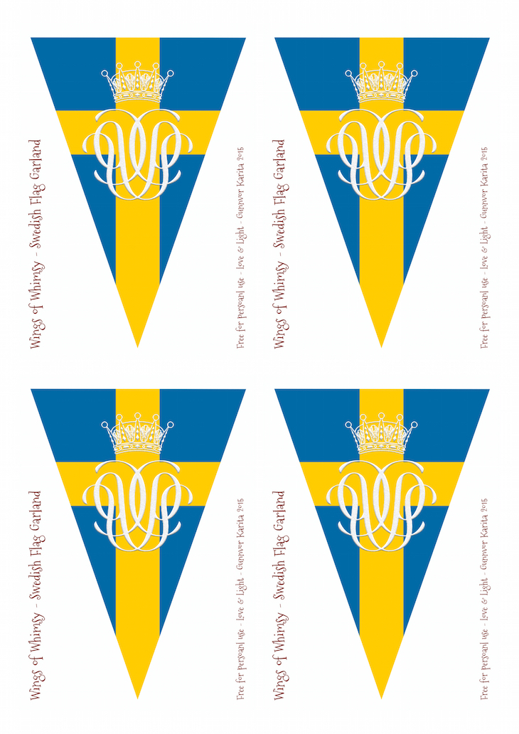 Wings of Whimsy: Swedish GRATTIS Bunting #freebie #printable #sweden #swedish #national  #day #bunting #princess #sofia #royal #wedding