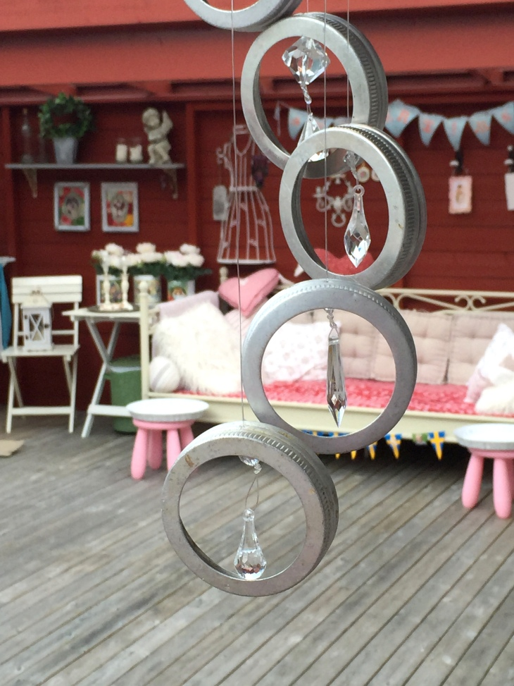Wings of Whimsy: DIY Mason Jar Bands & Crystals Windchime #diy #ribbon #masonjarband #windchime #mobile