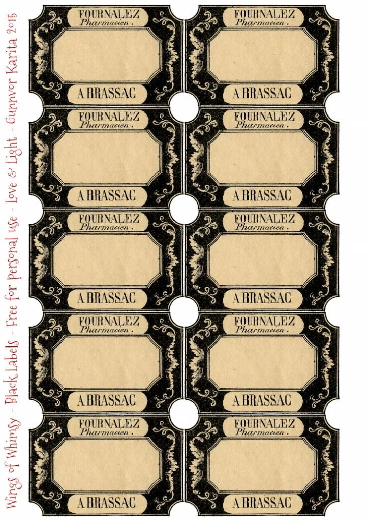 Wings of Whimsy: Black Frame Labels #vintage #printable #freebie #label #tab