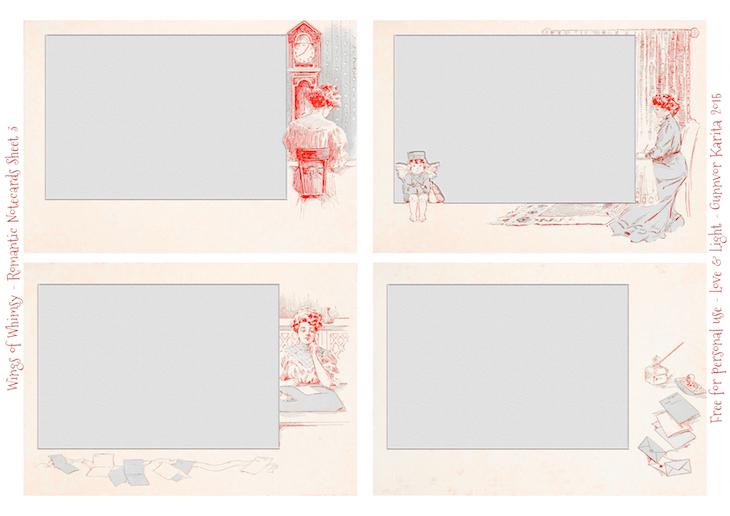 Wings of Whimsy: Set of 12 Romantic Notecards - Sheet No 3 of 3 #freebie #printable #vintage #ephemera #notecard# romantic