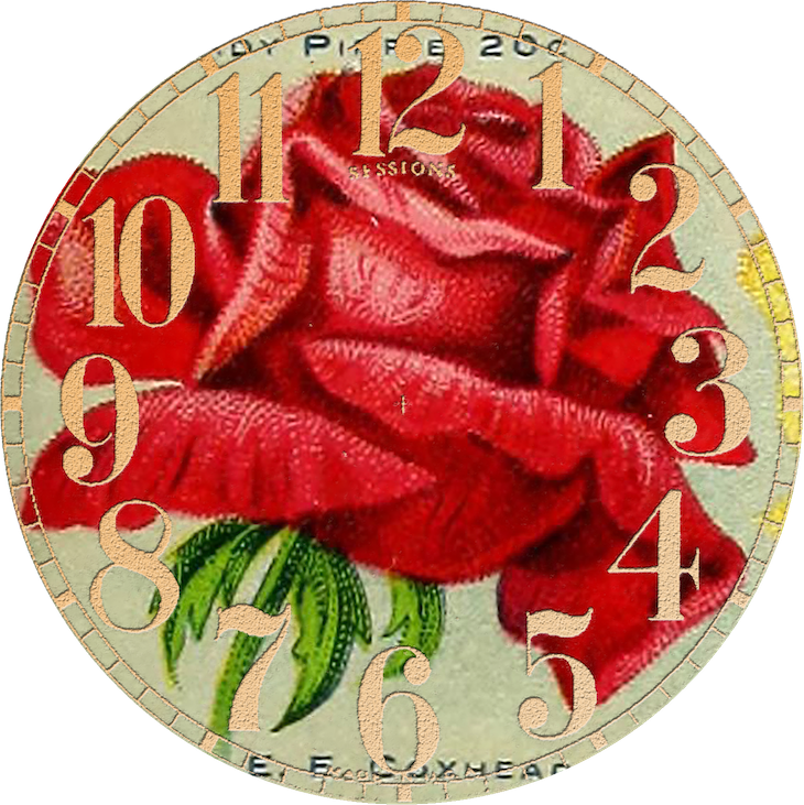 Wings of Whimsy: Vintage Rose Clock 11 PNG (transparent background) #vintage #ephemera #rose #clock