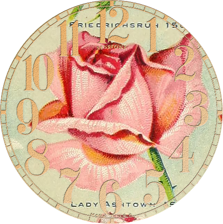 Wings of Whimsy: Vintage Rose Clock 1 PNG (transparent background) #vintage #ephemera #rose #clock