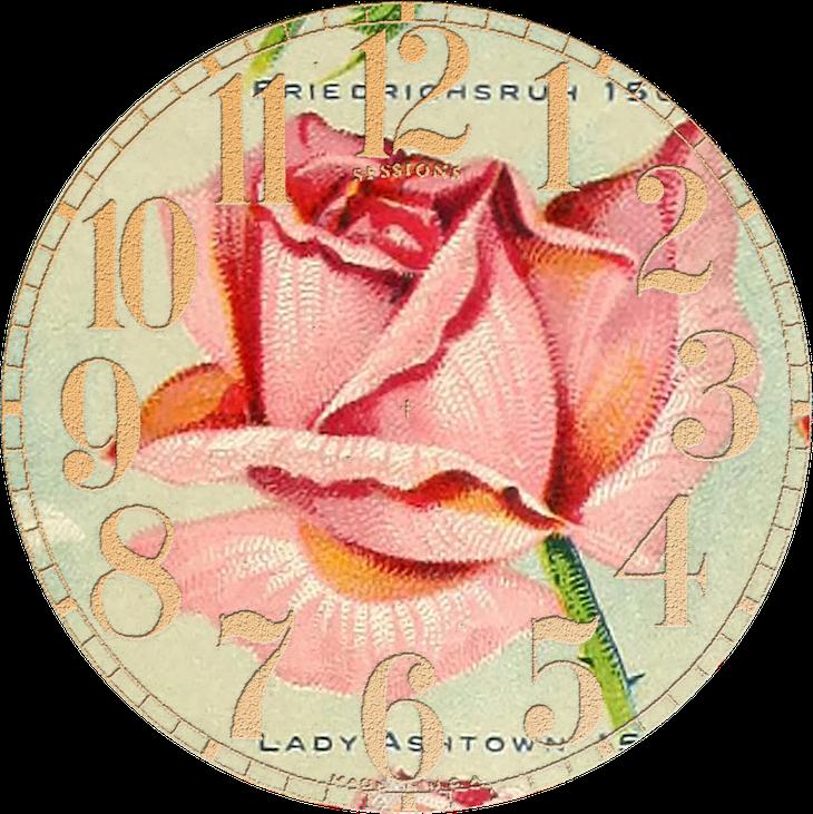 Wings of Whimsy: Vintage Rose Clock 1 PNG (transparent background) #vintage #ephemera #rose #clock