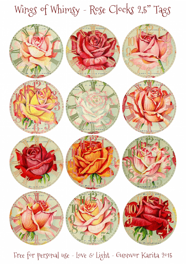 "Wings of Whimsy: Vintage Rose Clocks 2,5"" Tags #vintage #ephemera #rose #clock"