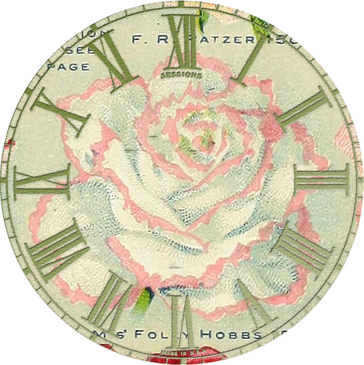 Wings of Whimsy: Vintage Rose Clock 2 PNG (transparent background) #vintage #ephemera #rose #clock