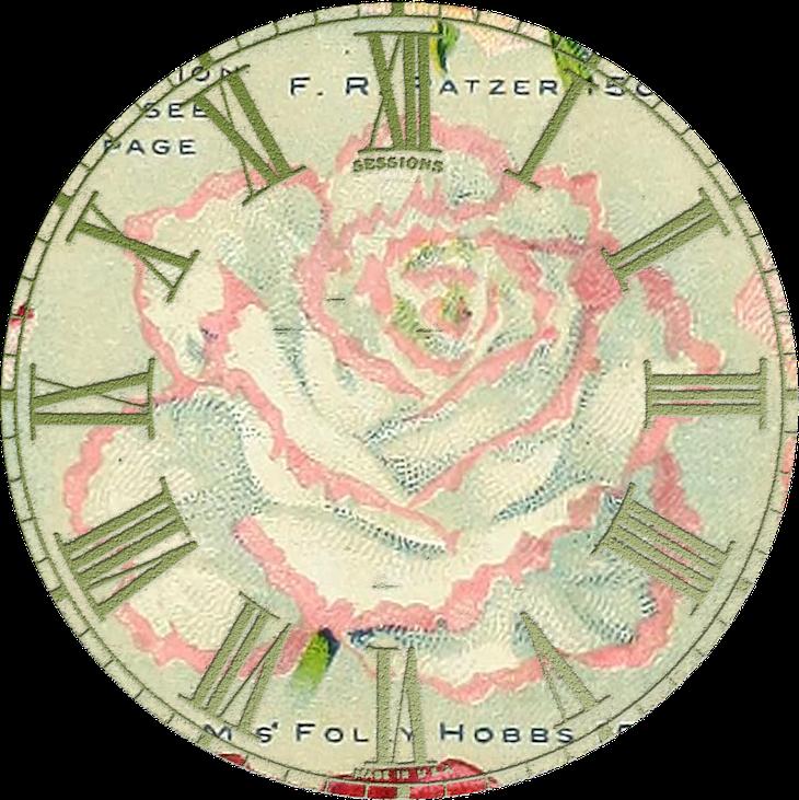 Wings of Whimsy: Vintage Rose Clock 2 PNG (transparent background) #vintage #ephemera #rose #clock