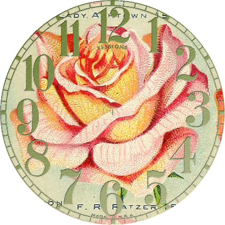 Wings of Whimsy: Vintage Rose Clock 3 PNG (transparent background) #vintage #ephemera #rose #clock